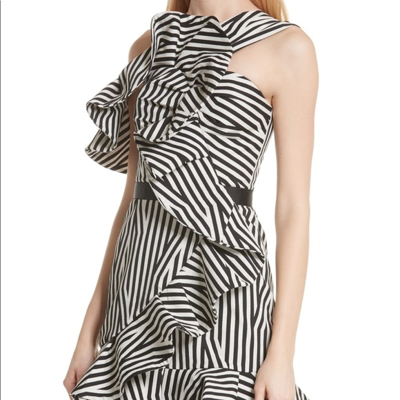 70a8ae102154 Self-Portrait Dresses   Selfportrait Asymmetrical Striped Ruffle ...